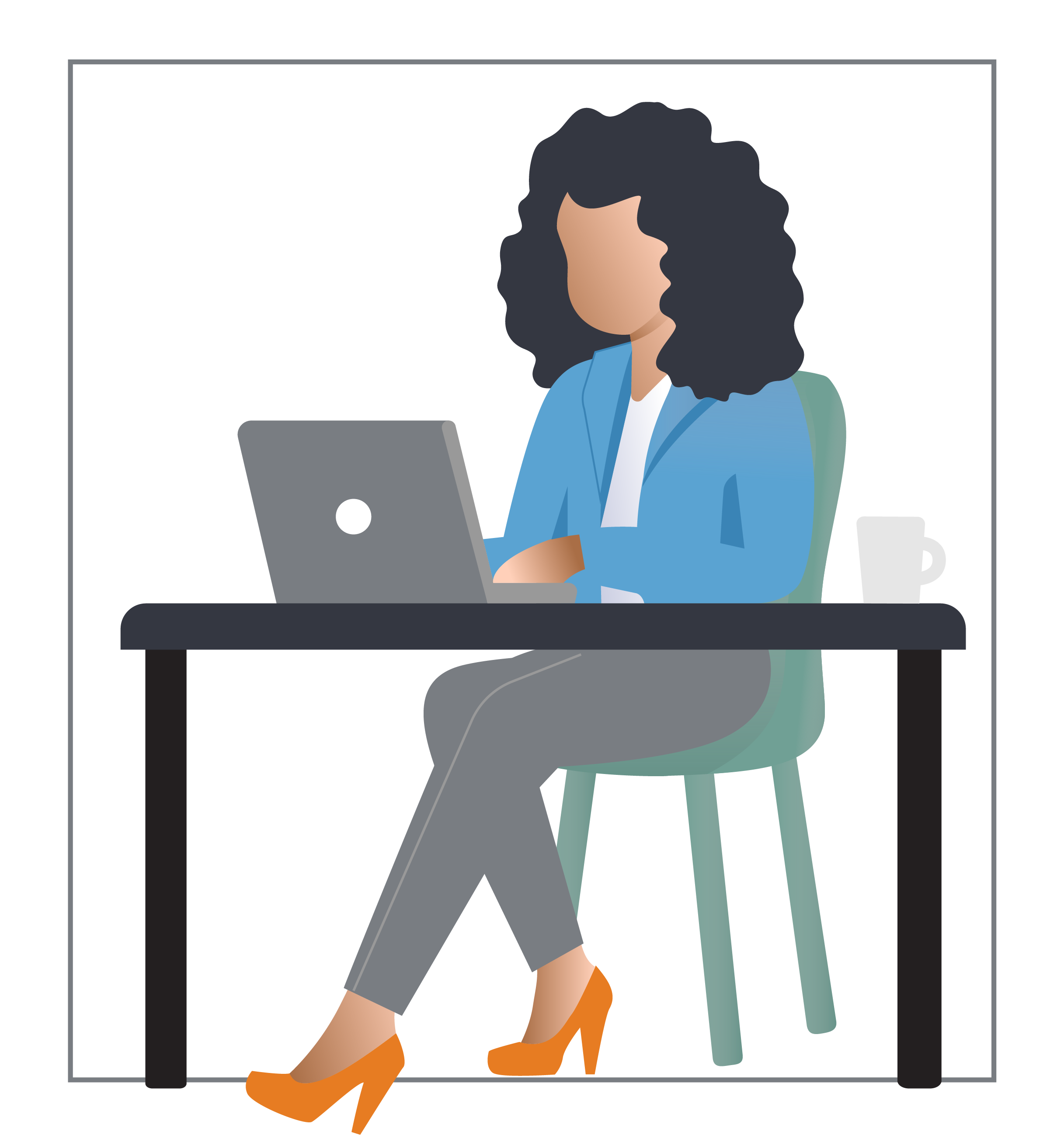 Additional graphics - woman working laptop
